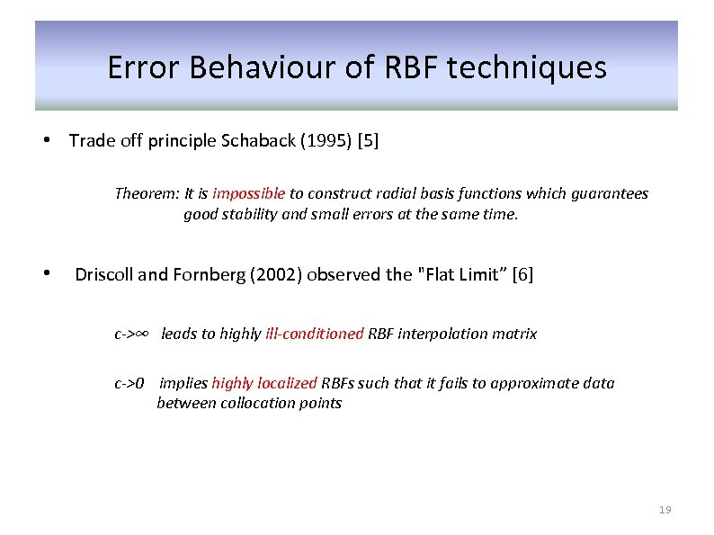 Error Behaviour of RBF techniques • Trade off principle Schaback (1995) [5] Theorem: It