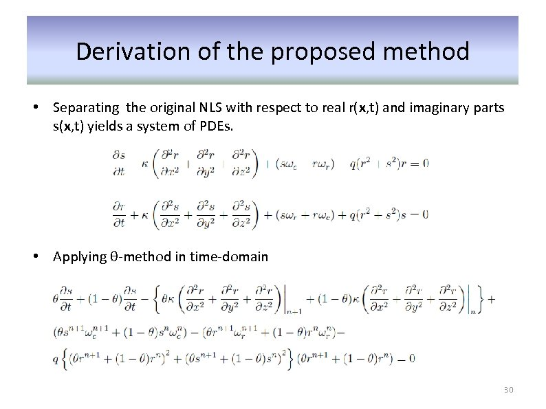 Derivation of the proposed method • Separating the original NLS with respect to real