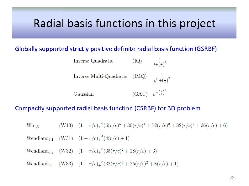 Radial basis functions in this project Globally supported strictly positive definite radial basis function