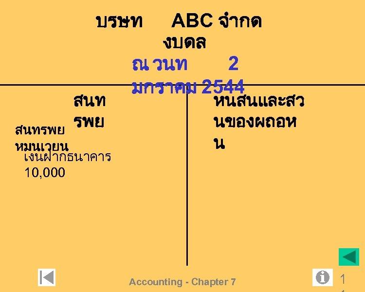 บรษท สนท รพย สนทรพย หมนเวยน เงนฝากธนาคาร 10, 000 ABC จำกด งบดล ณ วนท 2