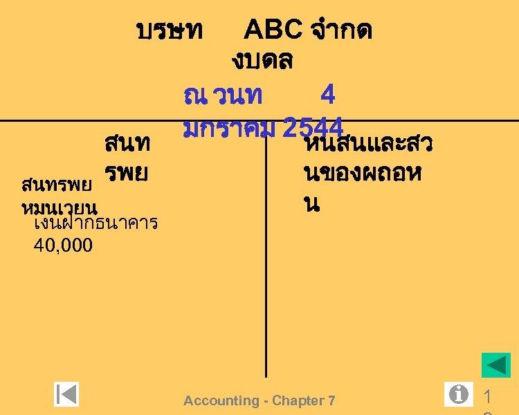 บรษท สนท รพย สนทรพย หมนเวยน เงนฝากธนาคาร 40, 000 ABC จำกด งบดล ณ วนท 4