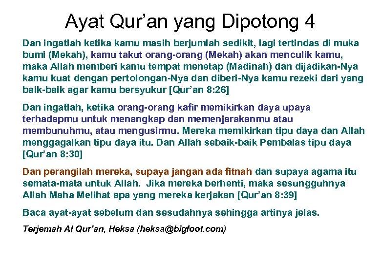 Ayat Qur'an yang Dipotong 4 Dan ingatlah ketika kamu masih berjumlah sedikit, lagi tertindas
