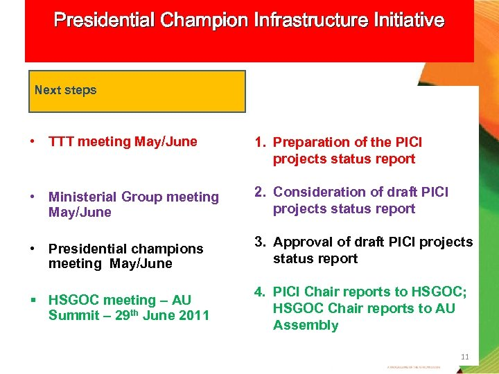 Presidential Champion Infrastructure Initiative Next steps • TTT meeting May/June 1. Preparation of the