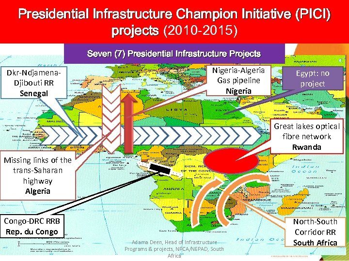 Presidential Infrastructure Champion Initiative (PICI) projects (2010 -2015) Seven (7) Presidential Infrastructure Projects Dkr-Ndjamena.