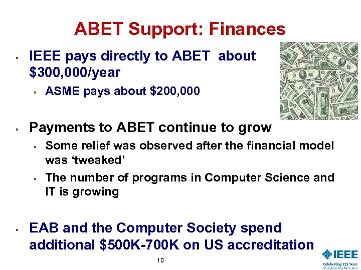 ABET Support: Finances § IEEE pays directly to ABET about $300, 000/year § §
