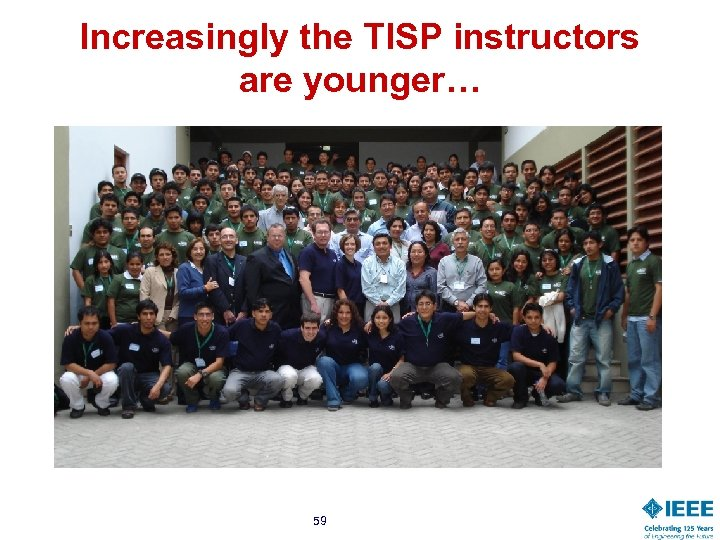 Increasingly the TISP instructors are younger… 59
