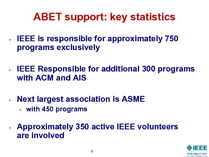 ABET support: key statistics § § § IEEE is responsible for approximately 750 programs