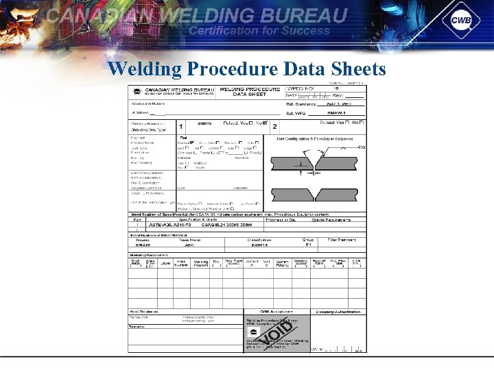 Welding Procedure Data Sheets