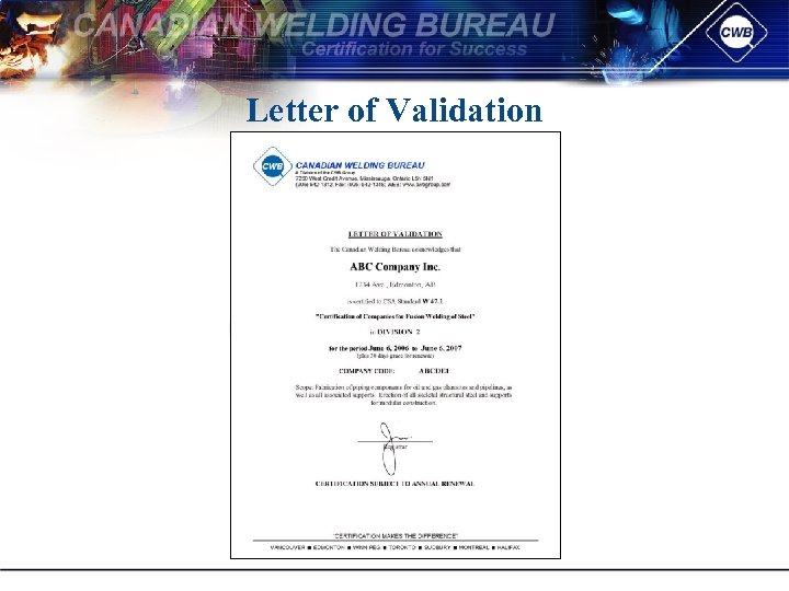 Letter of Validation