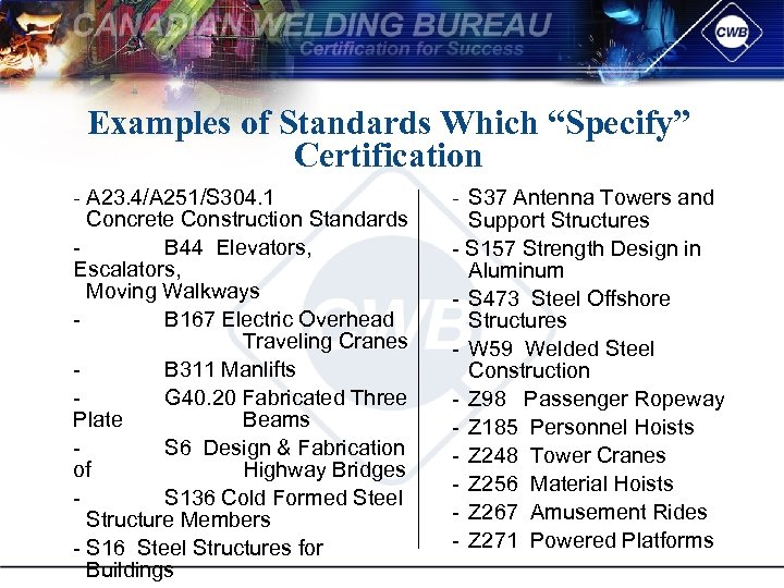 "Examples of Standards Which ""Specify"" Certification A 23. 4/A 251/S 304. 1 Concrete Construction"