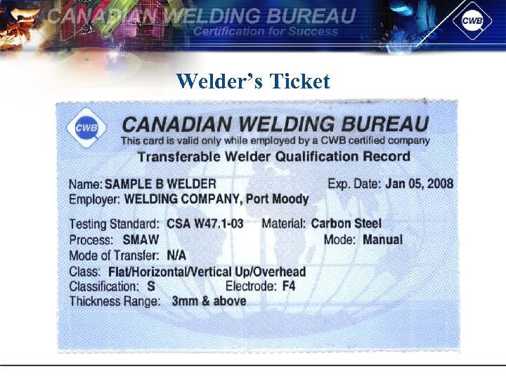 Welder's Ticket