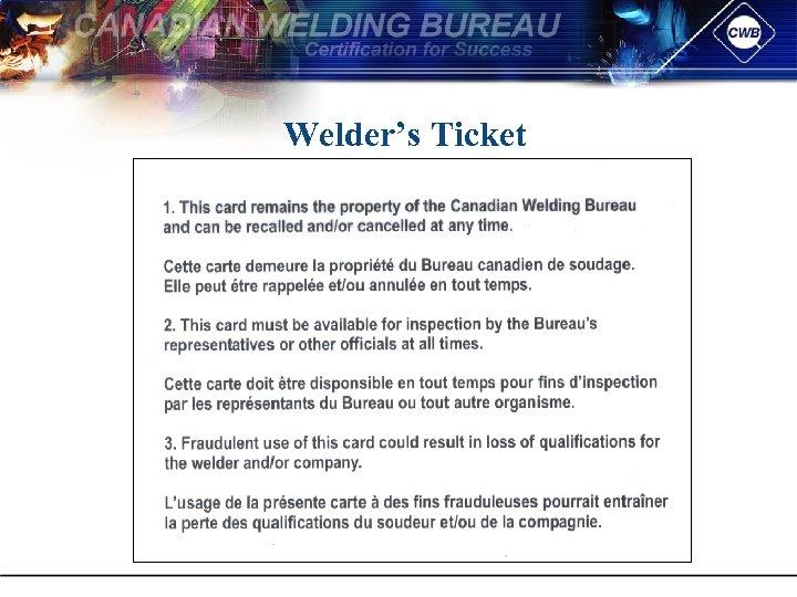 Welder's Ticket
