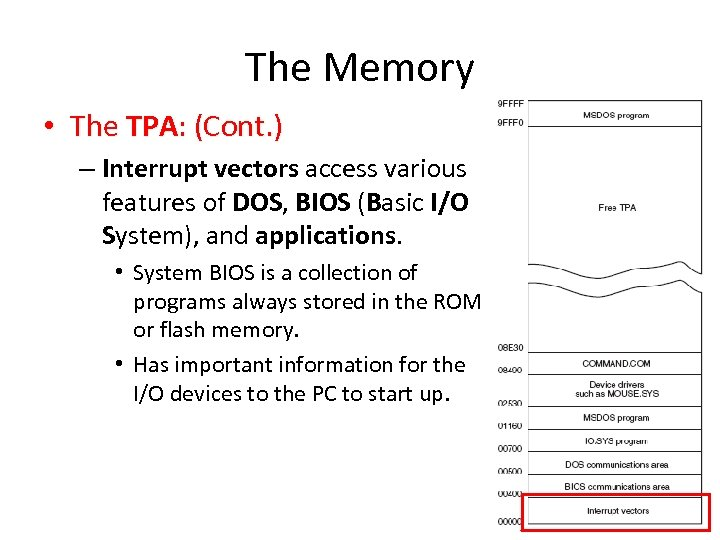 The Memory • The TPA: (Cont. ) – Interrupt vectors access various features of