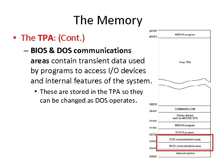 The Memory • The TPA: (Cont. ) – BIOS & DOS communications areas contain