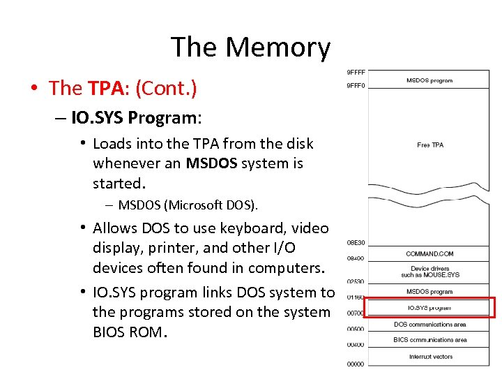 The Memory • The TPA: (Cont. ) – IO. SYS Program: • Loads into