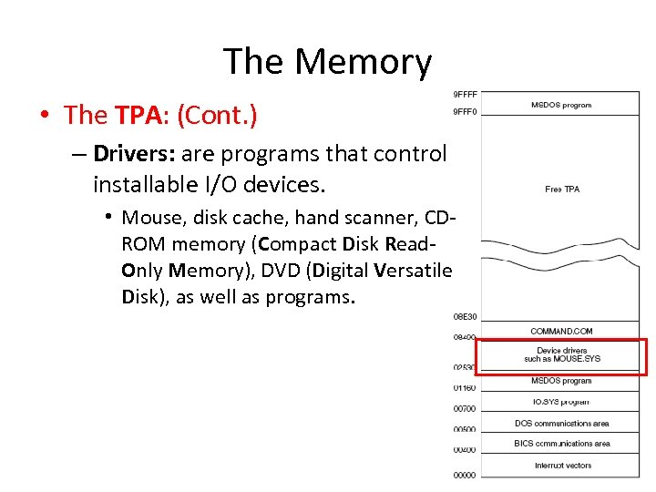 The Memory • The TPA: (Cont. ) – Drivers: are programs that control installable