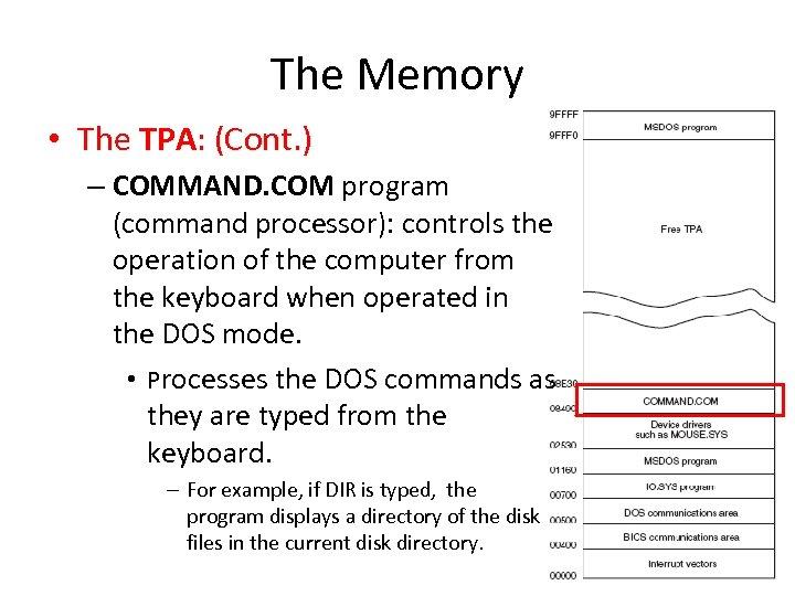 The Memory • The TPA: (Cont. ) – COMMAND. COM program (command processor): controls