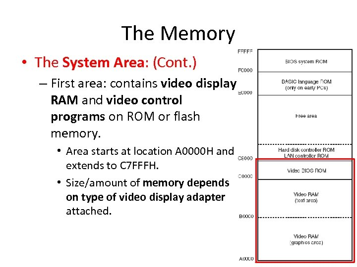 The Memory • The System Area: (Cont. ) – First area: contains video display