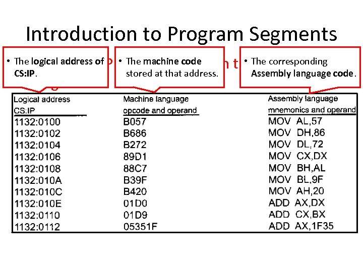 Introduction to Program Segments • The logical address of Physical Address in the Code