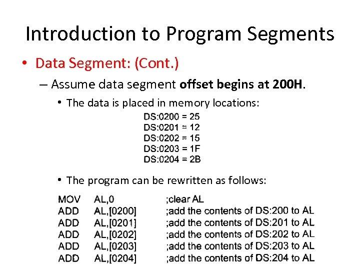 Introduction to Program Segments • Data Segment: (Cont. ) – Assume data segment offset