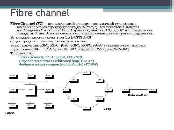 Fibre channel Fibre Channel (FC) – технологический стандарт, позволяющий осуществлять высокоскоростную передачу данных (до