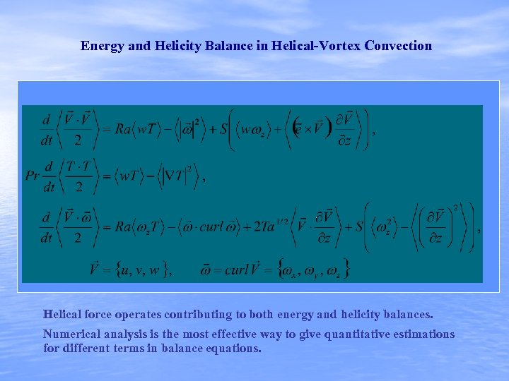 Energy and Helicity Balance in Helical-Vortex Convection Helical force operates contributing to both energy