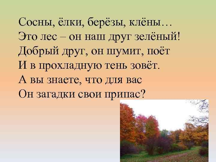 Сосны, ёлки, берёзы, клёны… Это лес – он наш друг зелёный! Добрый друг, он