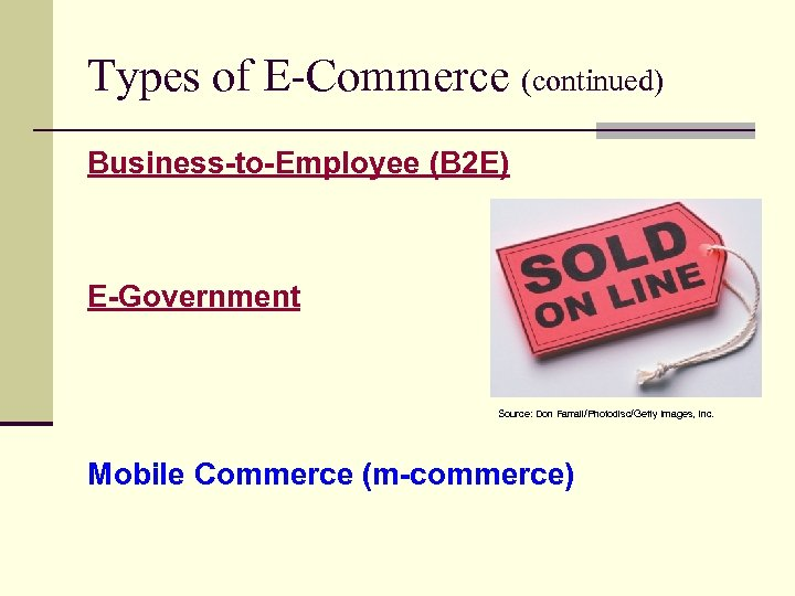 Types of E-Commerce (continued) Business-to-Employee (B 2 E) E-Government Source: Don Farrall/Photodisc/Getty Images, Inc.