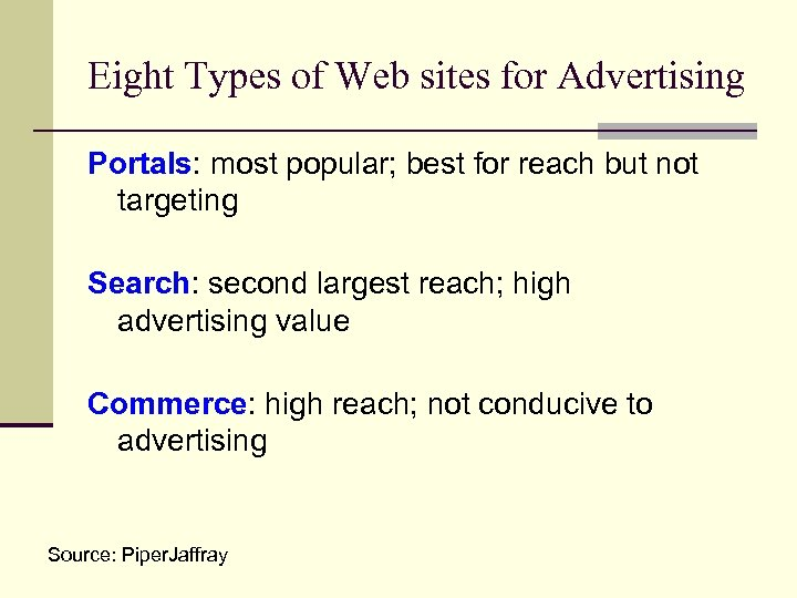 Eight Types of Web sites for Advertising Portals: most popular; best for reach but