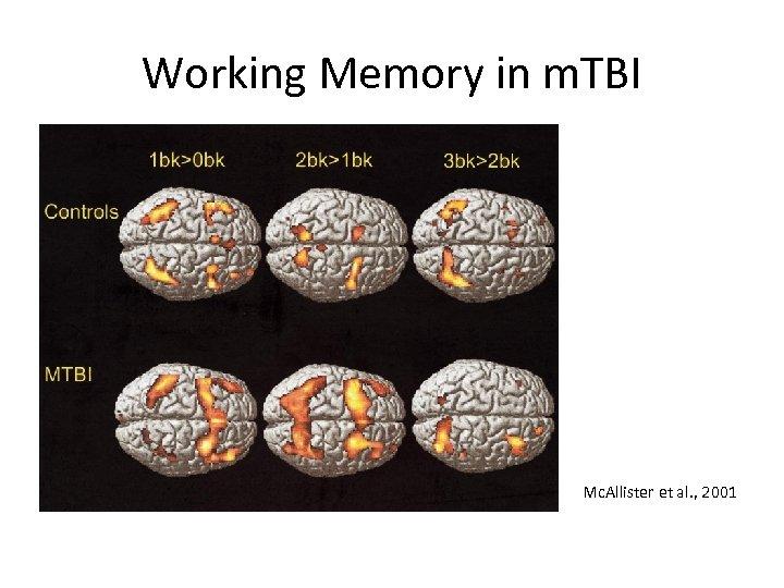 Working Memory in m. TBI Mc. Allister et al. , 2001