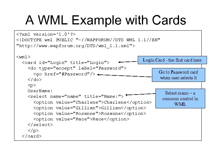 A WML Example with Cards <? xml version='1. 0'? > <!DOCTYPE wml PUBLIC