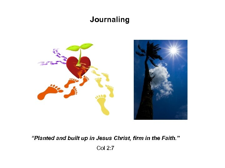 """Journaling """"Planted and built up in Jesus Christ, firm in the Faith. """" Col"""