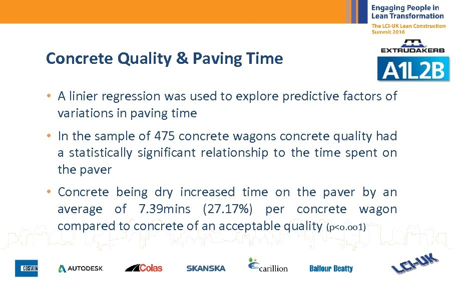 Concrete Quality & Paving Time • A linier regression was used to explore predictive