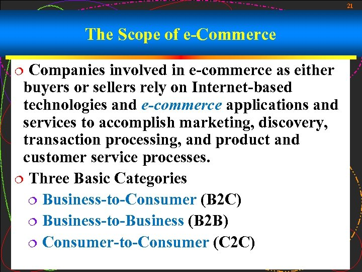 21 The Scope of e-Commerce Companies involved in e-commerce as either buyers or sellers