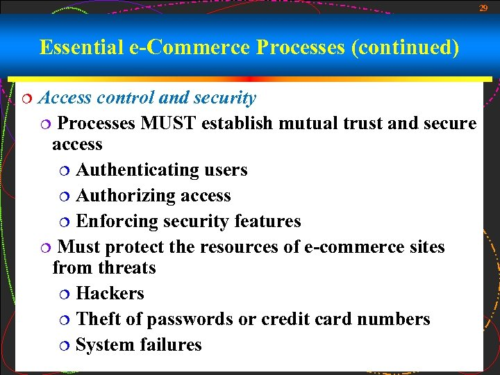 29 Essential e-Commerce Processes (continued) ¦ Access control and security ¦ Processes MUST establish