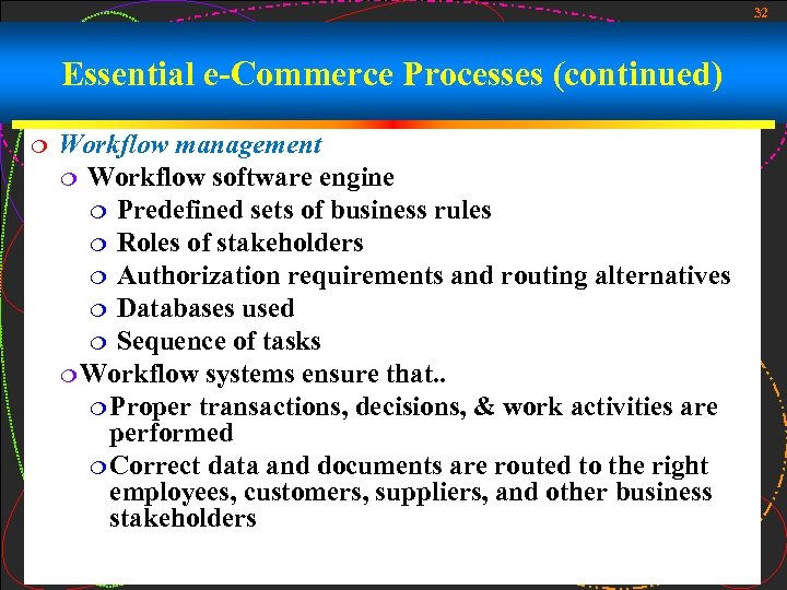 32 Essential e-Commerce Processes (continued) ¦ Workflow management ¦ Workflow software engine ¦ Predefined