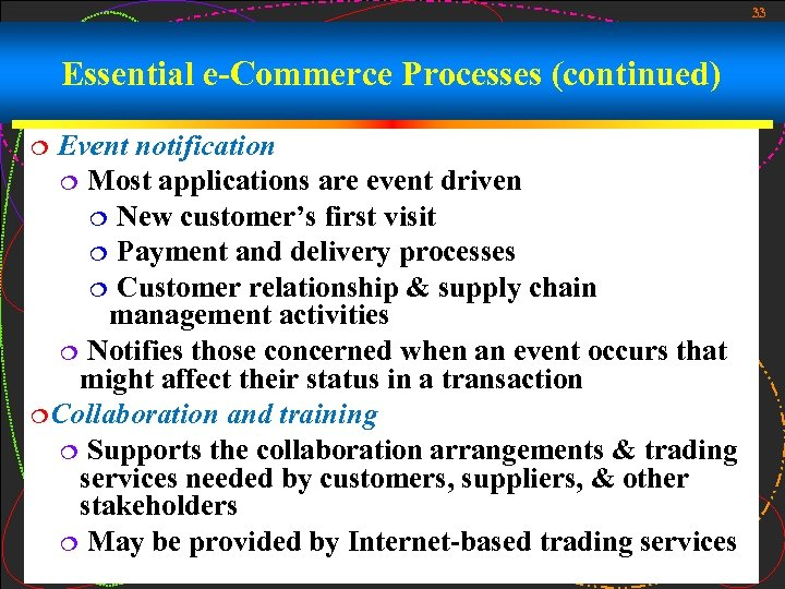 33 Essential e-Commerce Processes (continued) Event notification ¦ Most applications are event driven ¦