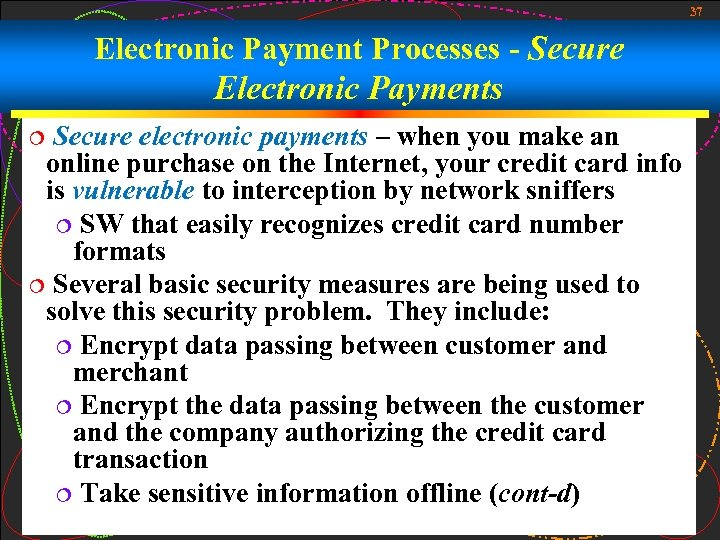 37 Electronic Payment Processes - Secure Electronic Payments Secure electronic payments – when you