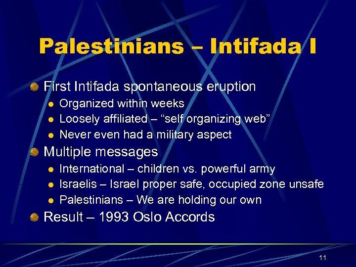 Palestinians – Intifada I First Intifada spontaneous eruption l l l Organized within weeks