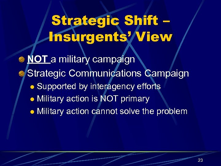 Strategic Shift – Insurgents' View NOT a military campaign Strategic Communications Campaign Supported by