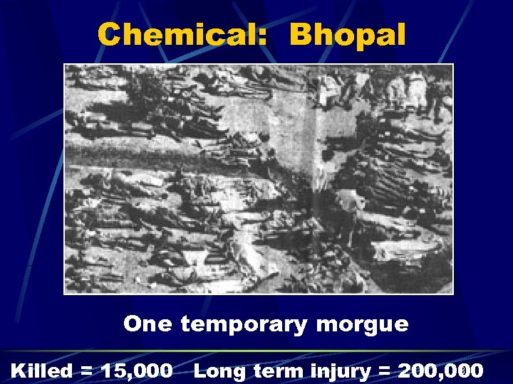 Chemical: Bhopal One temporary morgue 30 Killed = 15, 000 Long term injury =