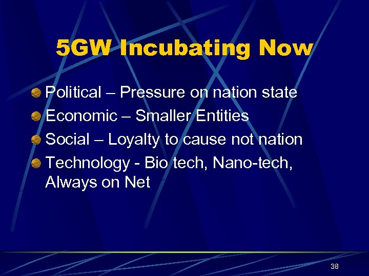 5 GW Incubating Now Political – Pressure on nation state Economic – Smaller Entities