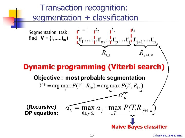 Transaction recognition: segmentation + classification Dynamic programming (Viterbi search) (Recursive) DP equation: Naive Bayes