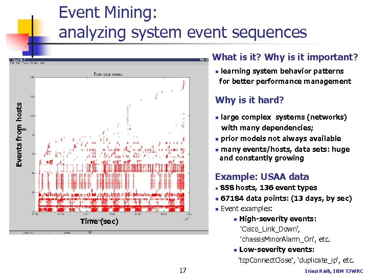 Event Mining: analyzing system event sequences What is it? Why is it important? n