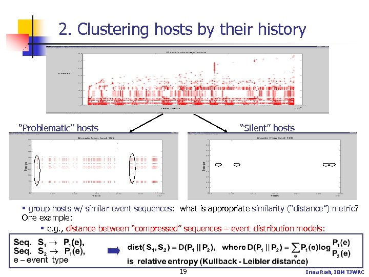 "2. Clustering hosts by their history ""Problematic"" hosts ""Silent"" hosts § group hosts w/"