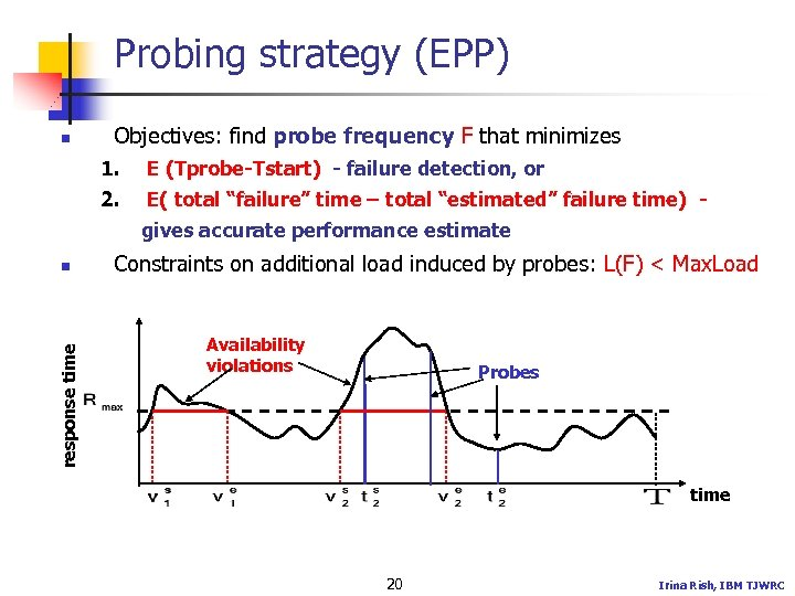Probing strategy (EPP) n Objectives: find probe frequency F that minimizes 1. E (Tprobe-Tstart)