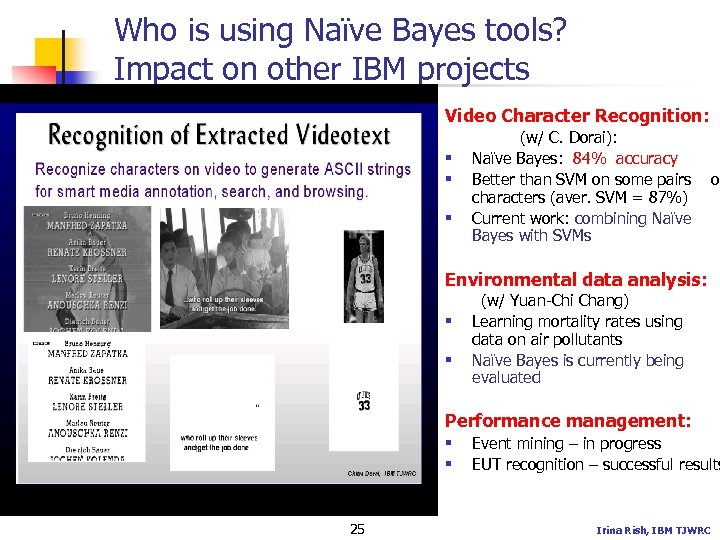 Who is using Naïve Bayes tools? Impact on other IBM projects Video Character Recognition: