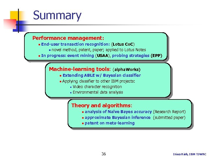 Summary Performance management: End-user transaction recognition: (Lotus Co. C) n novel method, patent, paper;