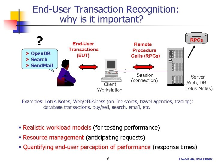 End-User Transaction Recognition: why is it important? ? Ø Open. DB Ø Search Ø