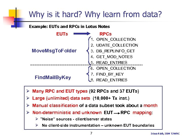 Why is it hard? Why learn from data? Example: EUTs and RPCs in Lotus